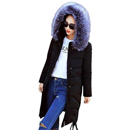 WINWINTOM Moda Mujer de Invierno Largo y Grueso Algodón Delgada Caliente Escudo Abrigo Parka Negro