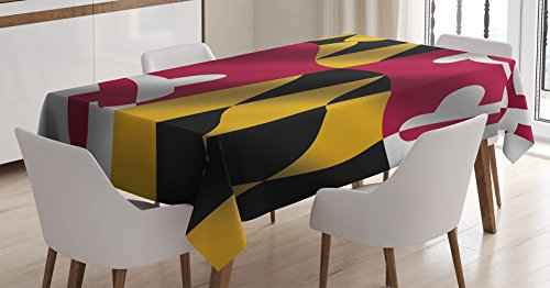 Ambesonne American Decor Tablecloth by, Flag of the US State of Maryland Closeup Picture Waving America National, Dining Room Kitchen Rectangular Table Cover, 60 X 84 Inches