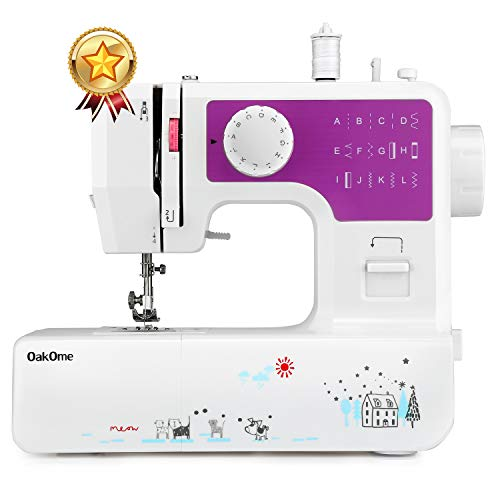oakome Household Sewing Machine Multifunction - 12 Built-in Stitches and Patterns, Strong Horsepower, Perfect for All Sewing Jobs, Great for Beginners and Convenient for The Experienced (Purple) ()