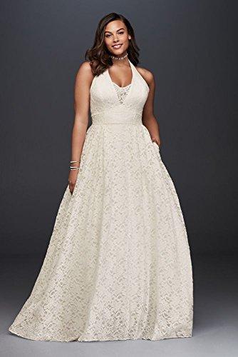 Plunging Lace Halter Plus Size Wedding Dress Style 9WG3844, Ivory, 30W