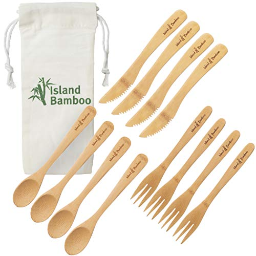 Island Bamboo - Utensil set - Reusable Bamboo Cutlery Set [Eco-friendly, Natural, Portable] 12 Wooden pcs - 4 x 3 [Fork, Knife, Spoon] Disposable Flatware for Camping, Travel, Office Lunch, Parties, Picnic, Camp Kids