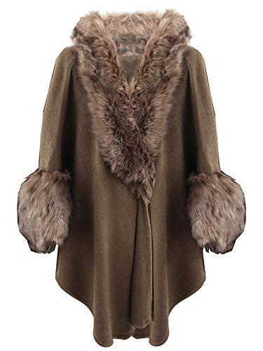 Taupe Brown Faux Fur Cape...
