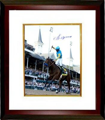 American Pharoah signed 16x20 Photo 2015 Kentucky Derby Horse Racing Triple Crown Custom Framed with Victor Espinoza - Steiner Sports Certified