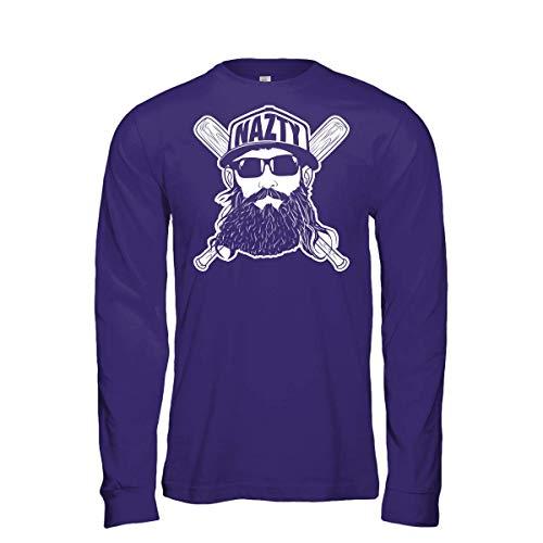 Fanbuild Fear The Nazty Baseball Hat Beard Long Sleeve Shirt (X-Large, Purple)