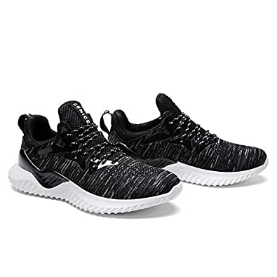 Loosnow Men Running Shoes Lightweight Non-Slip Sneakers Breathable Mesh Sport Shoes Black White