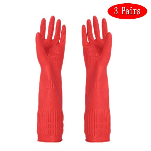 Long Rubber Gloves, Caliamary Home Rubber Cleaning Gloves, 3 Pairs Red Kitchen Dish Cleaning Gloves, Waterproof Reuseable (Medium)