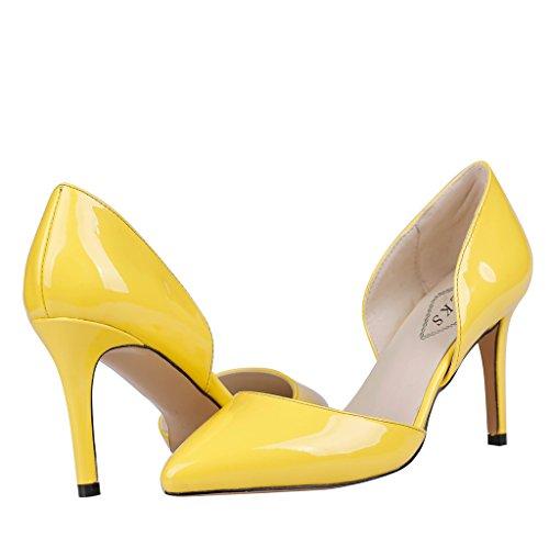EKS - Zapatos de Tacón Mujer Amarillo - Gelb-Lackleder