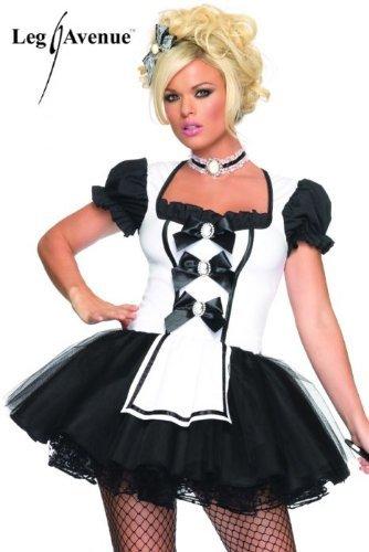 Sexy Deluxe French Maid Costumes (Leg Avenue Women's Mistress Maid Costume, Black/White, X-Small)