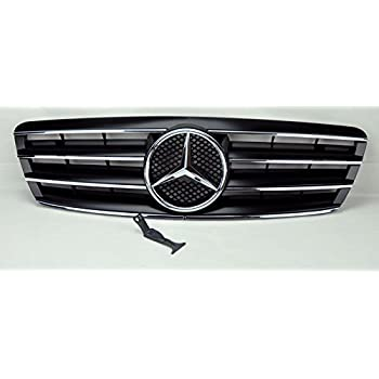 CPW (tm) 01-07 W203 Mercedes C-Class Black 3 Fin Sport Front Grille With Center Star For c240 c320 c280 c350 c230K