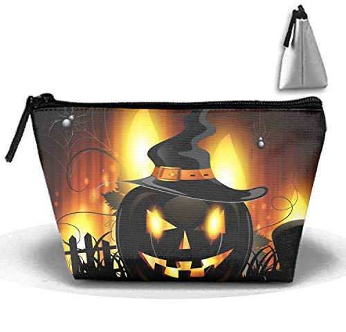 Cosmetic Bags Halloween Jack-o-lantern Makeup Bag with Brush Pouch Portable Zipper Trapezoidal Strorege Bag for Girl and Woman Necessary]()