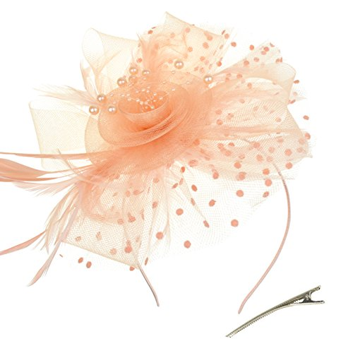 DRESHOW Fascinators Hat Flower Mesh Ribbons Feathers on a Headband and a Forked Clip Cocktail Tea Party Headwear for Girls and Women (Champagne, One - Champagne Tea