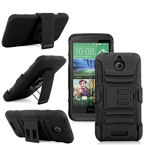 HTC Desire - Cellularvilla Hard Soft Dual Layer Hybrid Armor Shell Holster Kickstand Combo Case with Locking Belt Swivel Clip Cover for HTC Desire 510 (Black)