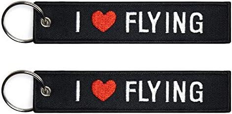 【 メール便発送 】 I LOVE FLYING アイ ラブ フライング キーチェーン キーホルダー TAG フライトタグ (1個)