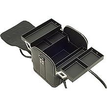 SunRise C3025PVAB Black Leatherette 4 Tiers Expandable Trays Roll Top Professional Makeup Beauty Train Craft Storage Organizer Case
