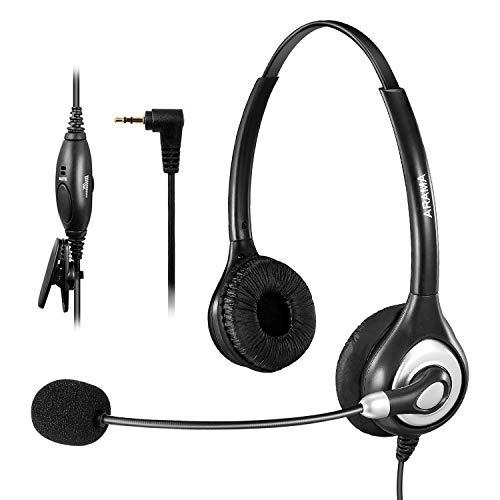 Arama 2.5 mm 헤드셋 전화기 마이크를 갖춘 고음질 경량 Grandstream Panasonic Zultys Gigaset 등 해당 전화기 업무용 헤드셋 두 귀 / Arama 2.5 mm headset phone with microphone for high sound quality lightweight Grandstream Panasonic Zult...
