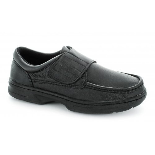Dr Keller Mens Velcro Fastening Leather Comfort Wide Shoes Black