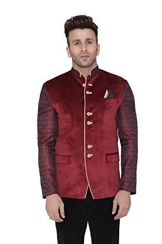 WINTAGE Men's Velvet Casual and Festive Indian Jodhpuri Grandad Bandhgala Blazer : Maroon, Medium