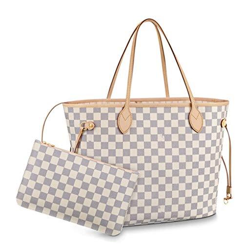 Lotwxa Neverfull Style Designer Woman Organizer Handbag Monogram Tote Shoulder White(Beige) 40x32x20cm