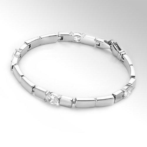 Materia-Argent Bracelet 18cm Fabrication allemande Bijouterie 19,7G-Argent Sterling 925Bracelet avec 4Zircones rhodié avec boîte bijoux # Oui de 1