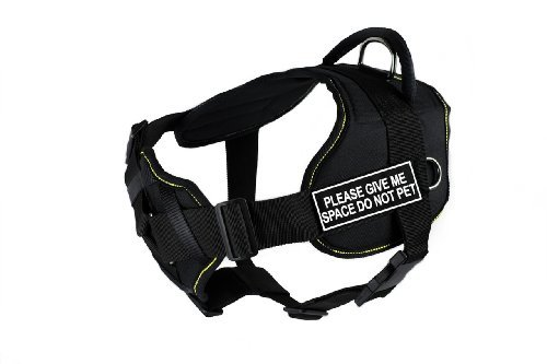 Dean & Tyler Black with Yellow Trim Fun Dog Harness with Padded Chest Piece, Please Give Me Space Do Not Pet, X-Large, Fits Girth Size 34-Inch to 47-Inch by Dean & Tyler