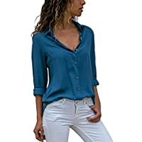HHei_K Womens Casual Solid Color Chiffon Turn-Down Collar Long Sleeve Button Down OL Shirt Loose Tops Blouse