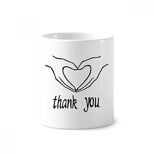 Black Heart Shaped Personalized Gesture Toothbrush Pen Holder Mug White Ceramic Cup (Personalized Heart Shaped Pen)