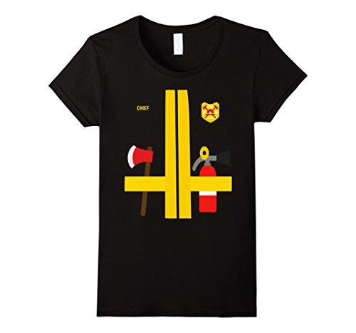 [Women's Firefighter Uniform - Kids Adult Halloween Costume T-Shirt Medium Black] (Womens Firefighter Costumes)