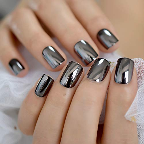 CoolNail Dark Smoky Gray Reflective Mirror Metal Plating False French Acrylic Nail Tips Punk Metallic Square Fake Nails With Glue Sticker]()