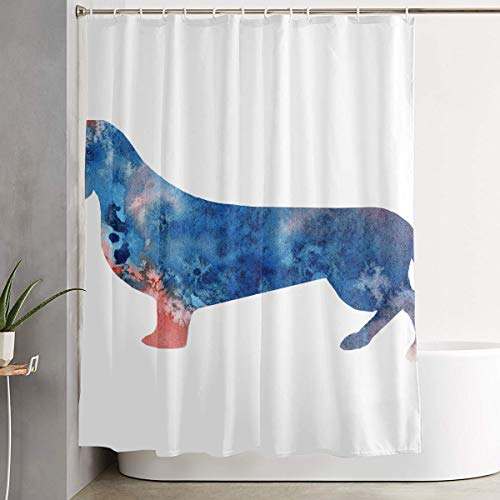 Techdecorhomee Shower Curtains Set with Hooks Art Colorful Dachshund Dog Soap Mildew Resistant Waterproof Antibacterial Polyester Decor Bathroom Curtain 6071inch/150180cm