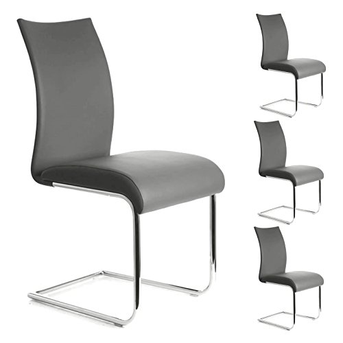 Schwingstuhl ALADINO Set mit 4 Stühlen chrom/grau