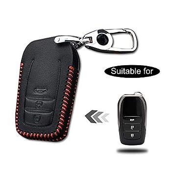 Carcasa Cuero para Llave Toyota 3 Botones Llave Control Remoto Inteligente línea roja con Llaveros 1 PC Modelo D