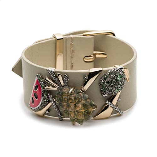 - Alexis Bittar Women's Leather Buckle Cuff Bracelet with Lucite and Enamel Fruit Accent