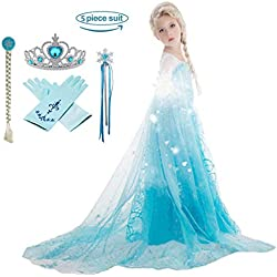 Domiray Girls Princess Dress, Frozen Elsa Costume with Party Accessories (5pcs)