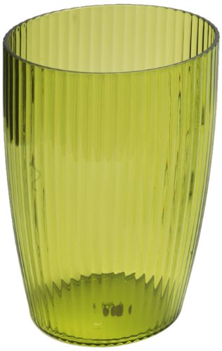 Carnation Home Fashions Ribbed Acrylic Wastebasket, Palm Green