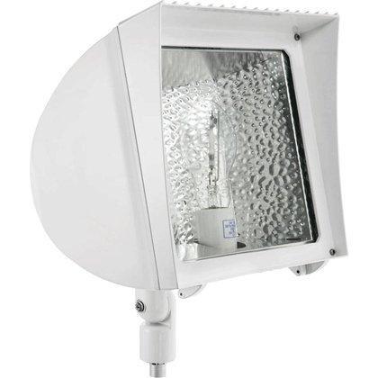 RAB Lighting FXH150PSQW Metal Halide Flex Floodlight with Heavy Duty Swivel Arm, ED17 Type, Aluminum, 150W Power, 14000 Lumens, 277V, White by RAB Lighting - Light Swivel Floodlight