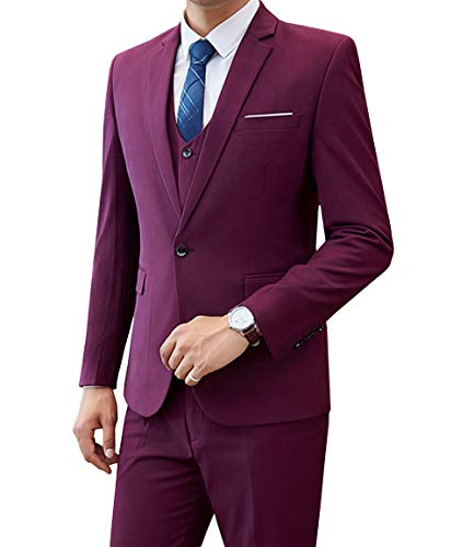 Mens Suit Slim Fit 3 Piece Notch Lapel Casual Wedding Suits ...