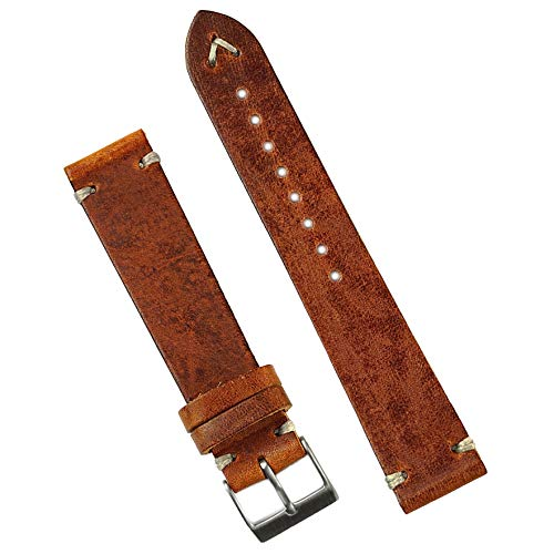 B & R Bands 21mm Cognac Classic Vintage Italian Leather Watch Band -