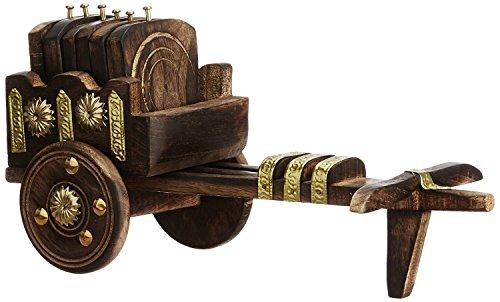 My Online WoodenBazaar Wooden Antique Beautiful Wooden Bullock Cart Shaped Tea Coffee Coaster Set – Home Decor Handicrafts Price & Reviews