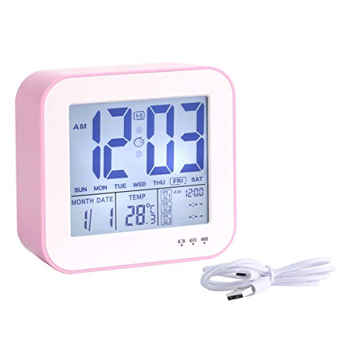 - HandAcc Digital Alarm Clock, Large Numbers LED Display Square Clock with Temperature, 3 Alarms, Snooze and Soft Nightlight Sensor for Bedroom, Office, USB Charger Clock (Pink)