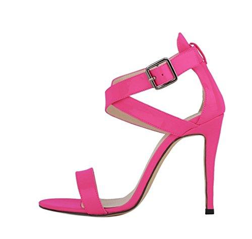 Women's Evening High Heels Open Toe Cross Strap Casual Stiletto Pumps Sandals fushia patent pu QTdbQM