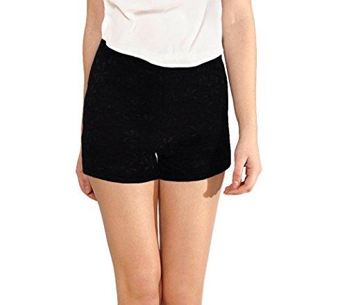 F9330 elastico ricamato M in tessuto S Nero pantaloncino store mod morbido MEDIA WAVE donna Denise Shorts Eq71846C