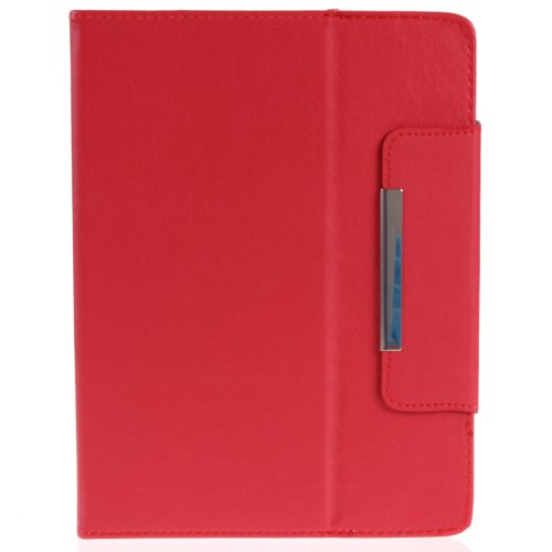 """AEXGE 8"""" Universal Carrying Case Slim Fit Folio Faux Leather Stand Flip Cover with Magnetic Snap for 8 Inch Android Tablet PC 4:3 Screen Red"""