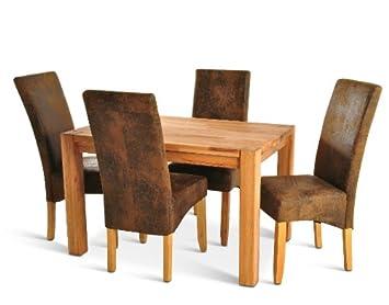Sam Kernbuche Tischgruppe Horst 120 X 80 Cm 5 Teilig Wildleder