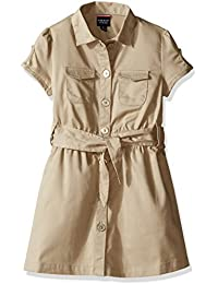 French Toast Girls' Twill Safari Shirtdress