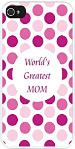 Lmf DIY phone caseRikki KnightTM World's Greatest Mom Pink Polka Dot Design iPhone 4 & 4s Case Cover (White Rubber with bumper protection) for Apple iPhone 4 & 4sLmf DIY phone case