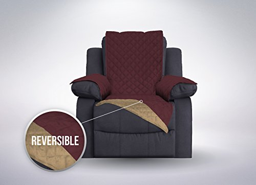 The Original SOFA SHIELD Reversible Furniture Protector, Features Elastic Strap (Recliner Oversized: Burgundy/Tan)