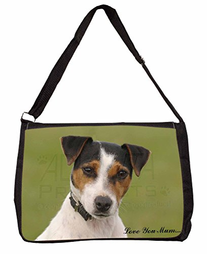 Jack Russell Terrier Dog 'Love You Mum' Large 16 Black School Laptop Shoulder B