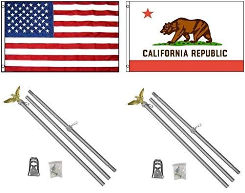 NEW 3'x5' CALIFORNIA & AMERICAN Polyester Flags & 2 Aluminum