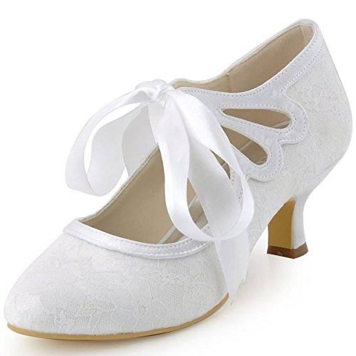 (ElegantPark HC1521 Women's Mary Jane Cut Out Closed Toe Low Heel Pumps Lace Wedding Dress Shoes White US 9)