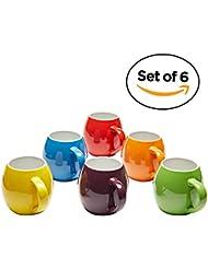 Premium Ceramic Set of 6, Colorful Meal Stoneware (Coffee Mugs)